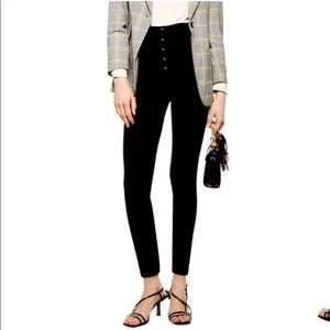 TopShop Super High Rise Black Stretch Pants Size 4